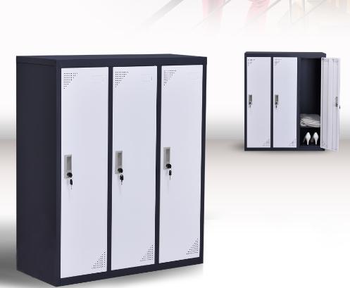 Three wide mini metal cabinet three door cabinet