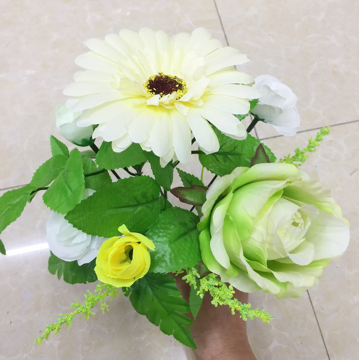 One Set mix rose and daisy silk artificial decorative wedding flowers fake flower for home