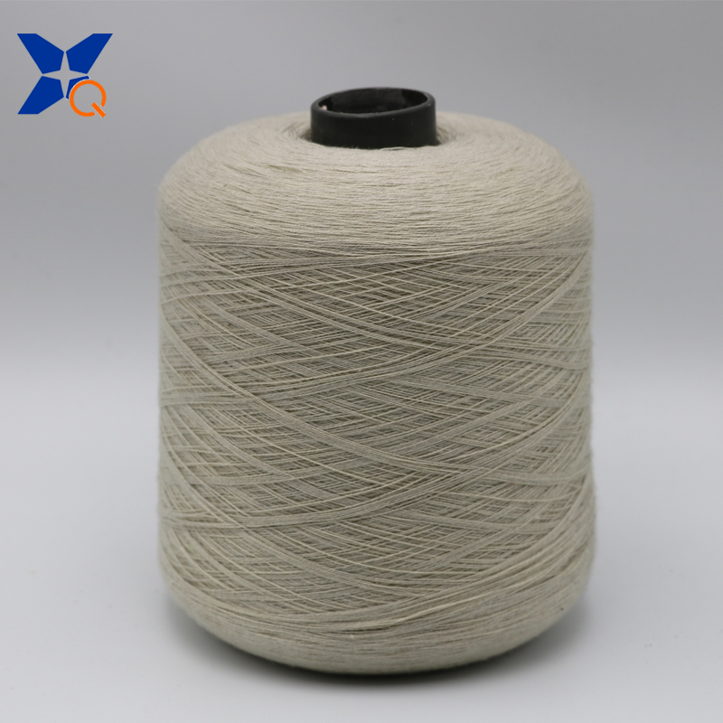 XT11030 creamy white Ne21/2ply 10% stainless steel staple fiber blended with 90% polyester fiber