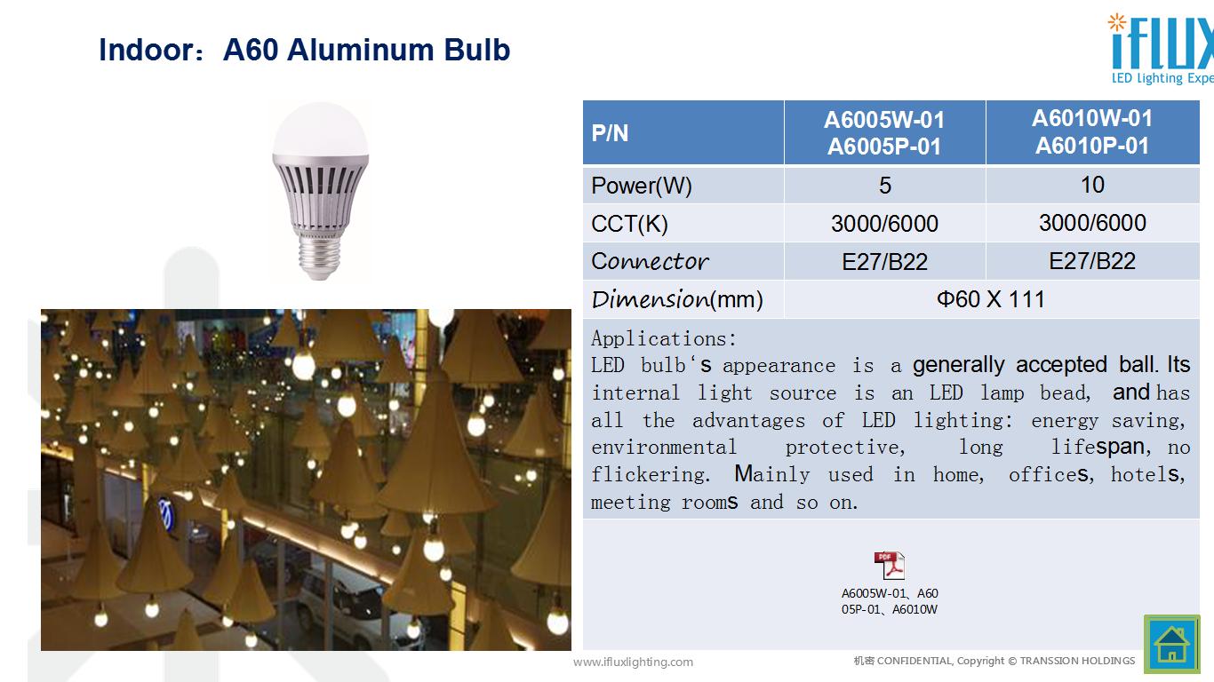 A60 Aluminum Bulb indoor led light