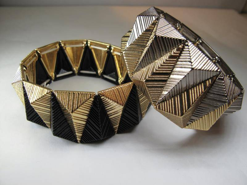 Metal gold mixed black glamorous bracelets fashion jewelry Trendy 2 color
