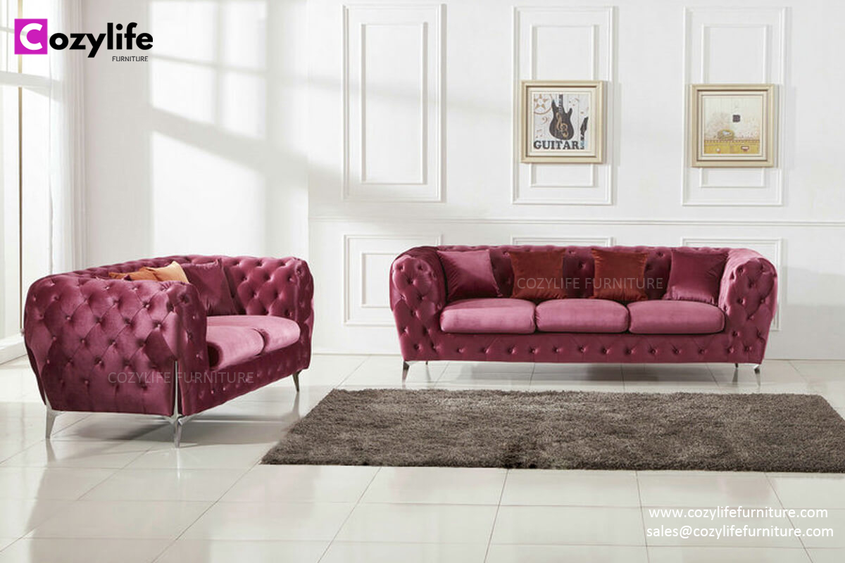 Modern pink velvet fabric chesterfield sofa set