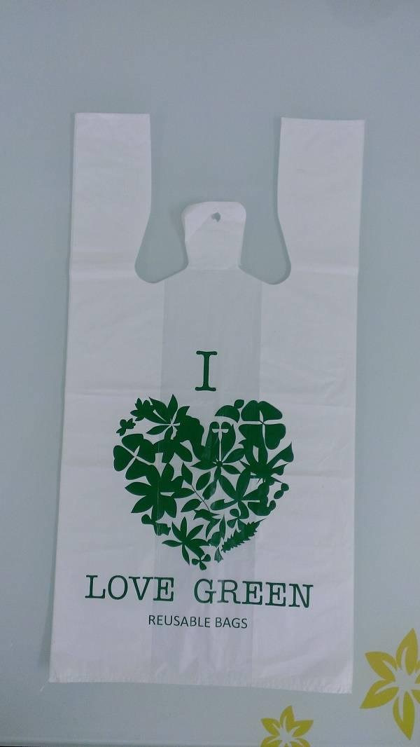 recycle plastic bag, t-shirt bag green printed
