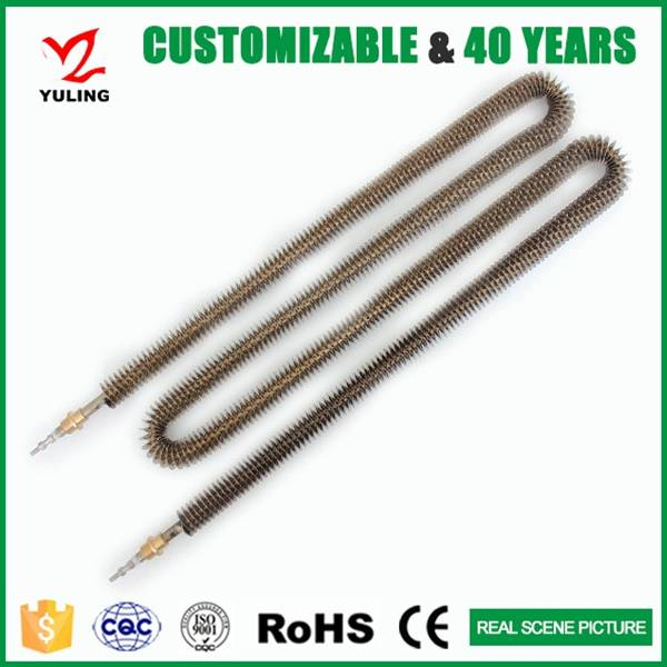 Industrial finned tubular heating element for air heater