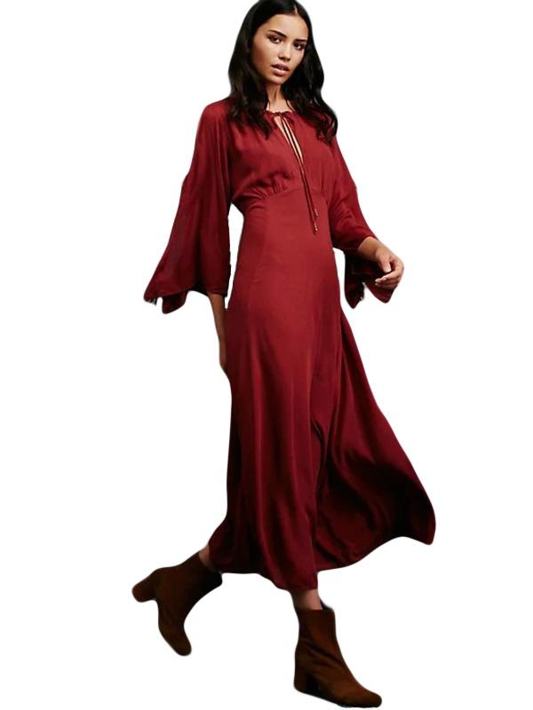 Autumn Women Fashion O-Neck Three Quarter Sleeve Ankle-Length Dress WT51891