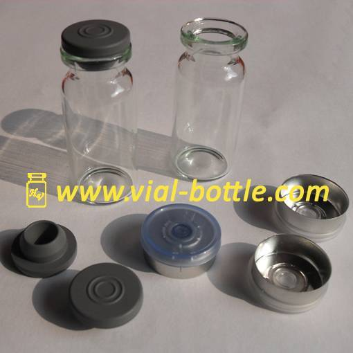 Empty 10ml glass bottle, rubber stopper and colored flip off tops for anabolic hormones
