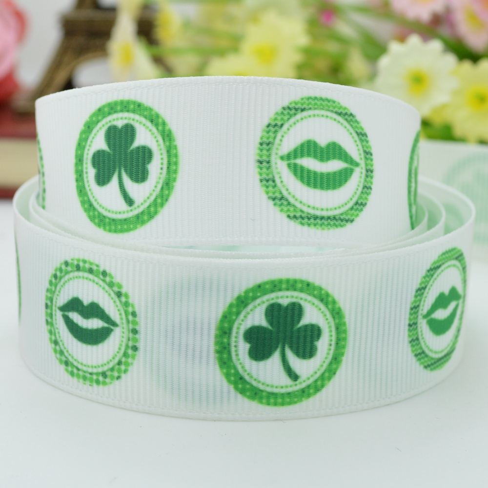 Grosgrain St. Patrick's Day Clovers And Light Green Lips Print Ribbon
