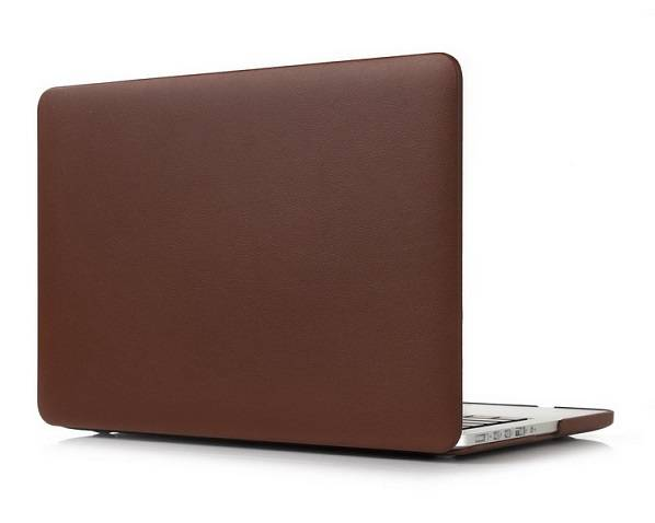 PU leather wrapped PC cover for Macbook laptop-Brown color