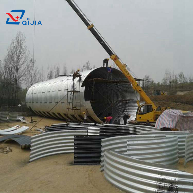 Large diameter corrugated steel pipe structure culverts