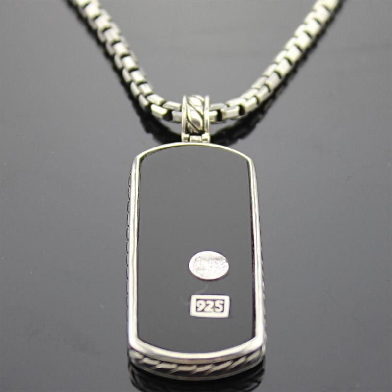 925 Silver Men's Jewelry Black Onyx Dog Tag (M-011)