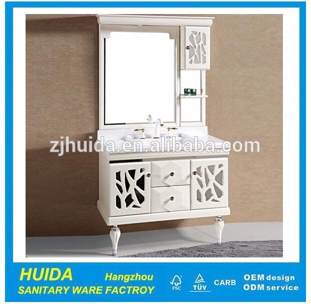 Modern Style White Finish Wall Mounted PVC bathroom cabinet/vanity/furniture