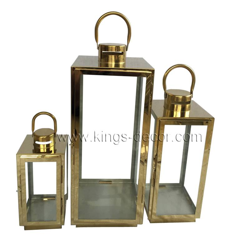 Gold outdoor/ indoor stainless steel candle lantern