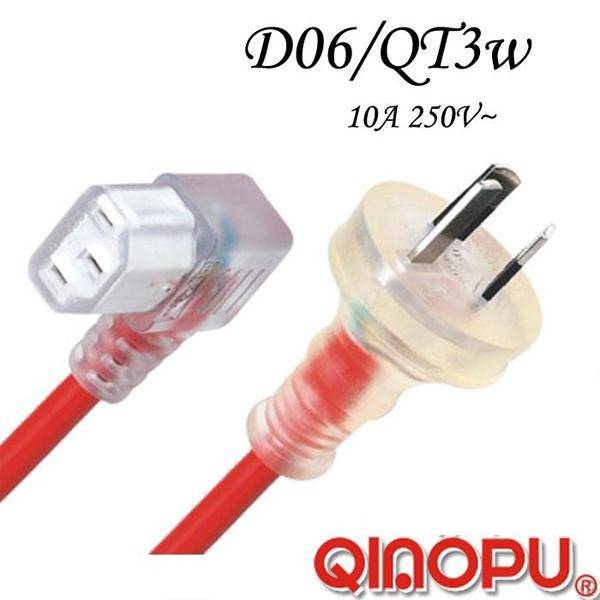 Australian SAA Approval Transparent Extension Cord with Iec C13-Angle Female Socket (D06/QT3-W)