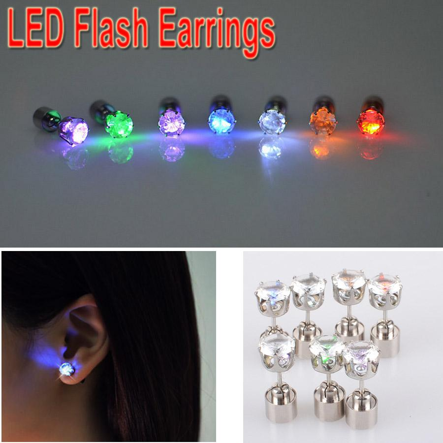 Led Earrings Women Men Hot Sale Fashion Jewelry Light Up Crown Crystal Drops LED Earrings