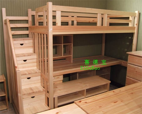 wooden child bed