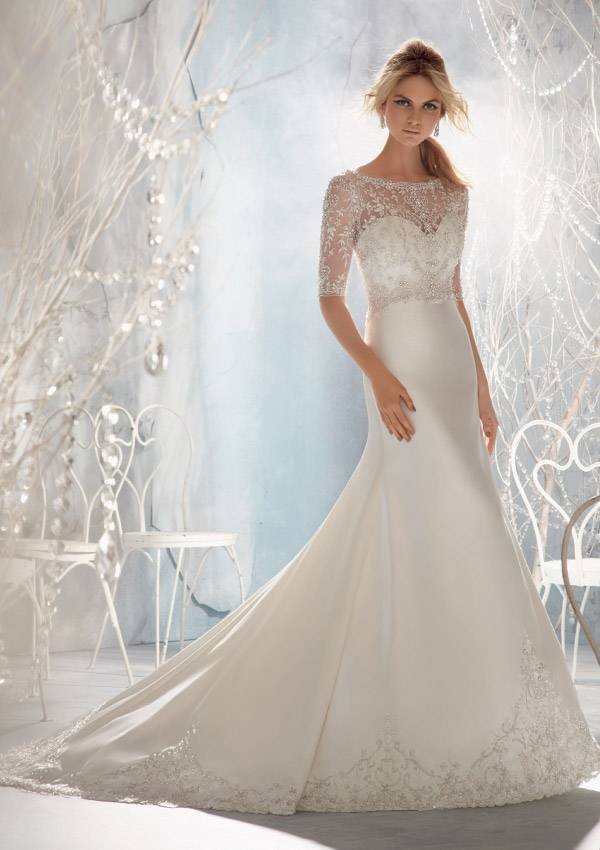 2014 Top Quality New Custom Made Ivory/White Satin Emboidery Beading Crystal Flower Bridal Gown