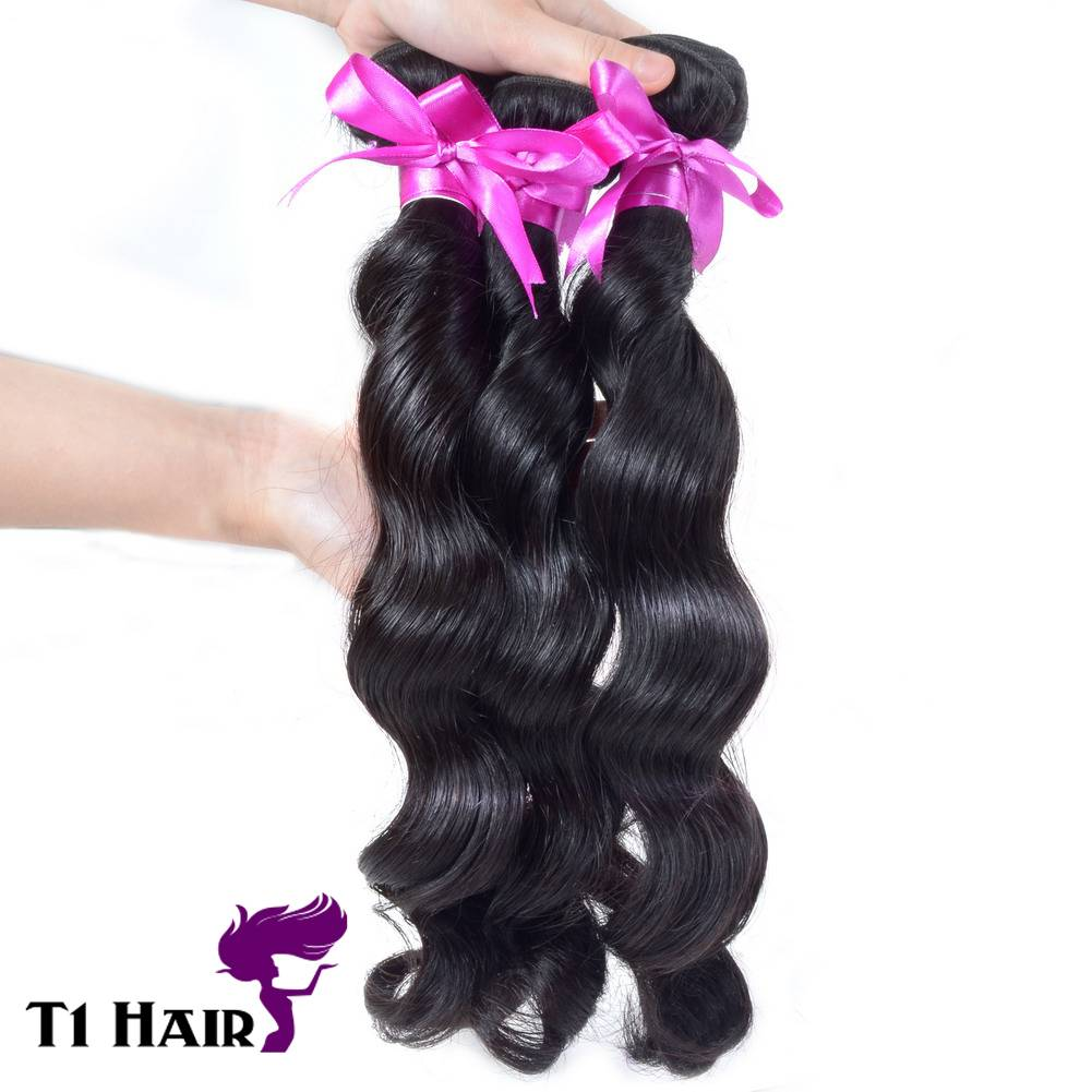 T1 Hair Best Quality Grade 7A Brazilian Virgin Human Hair Extensions Brazilian Loose Wave 3 Bundles