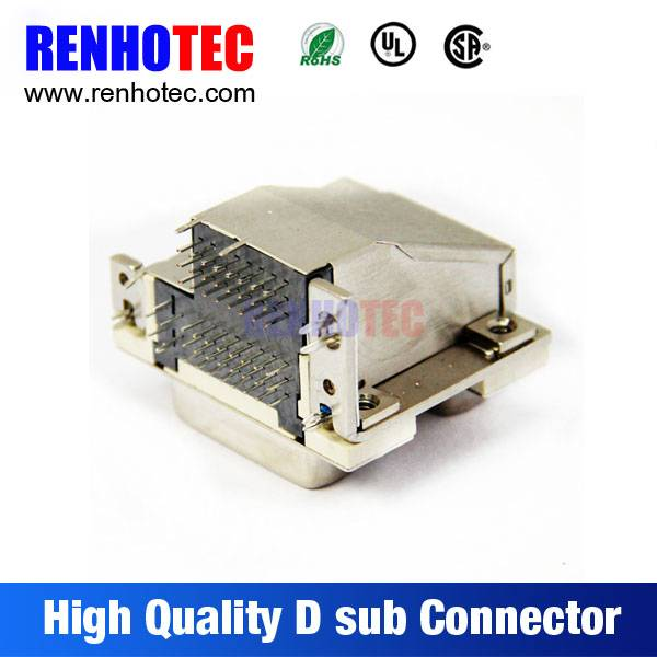 ROHS UL VGA PCB Mount 90 Degree Solder Dual in Line Ports 9 15 25 37 47 Pin D-Sub Connector