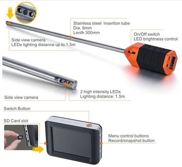 TVBTECH endoscope telescopic pole pipe inspection camera