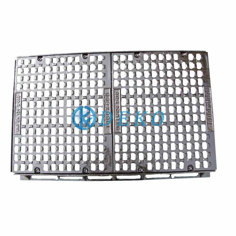 D400 1000x300/400/500/600x100mm with 2 gratings Square Manhole Covers Co Dia600