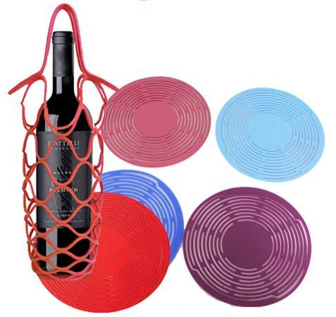Silicone Collapsible Picnic Basket  Placemat and Wine Bottle Holder  gifts basket