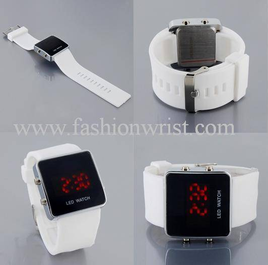 Fashion Silicone Red led light sports watch-LW202