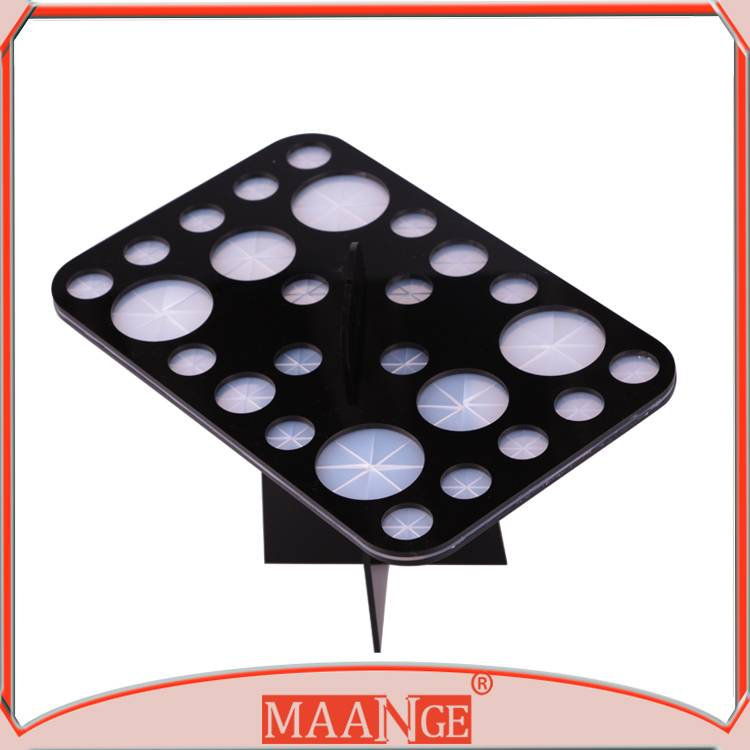 High end black circular hole shelf for drying the cosmetic makeup brush