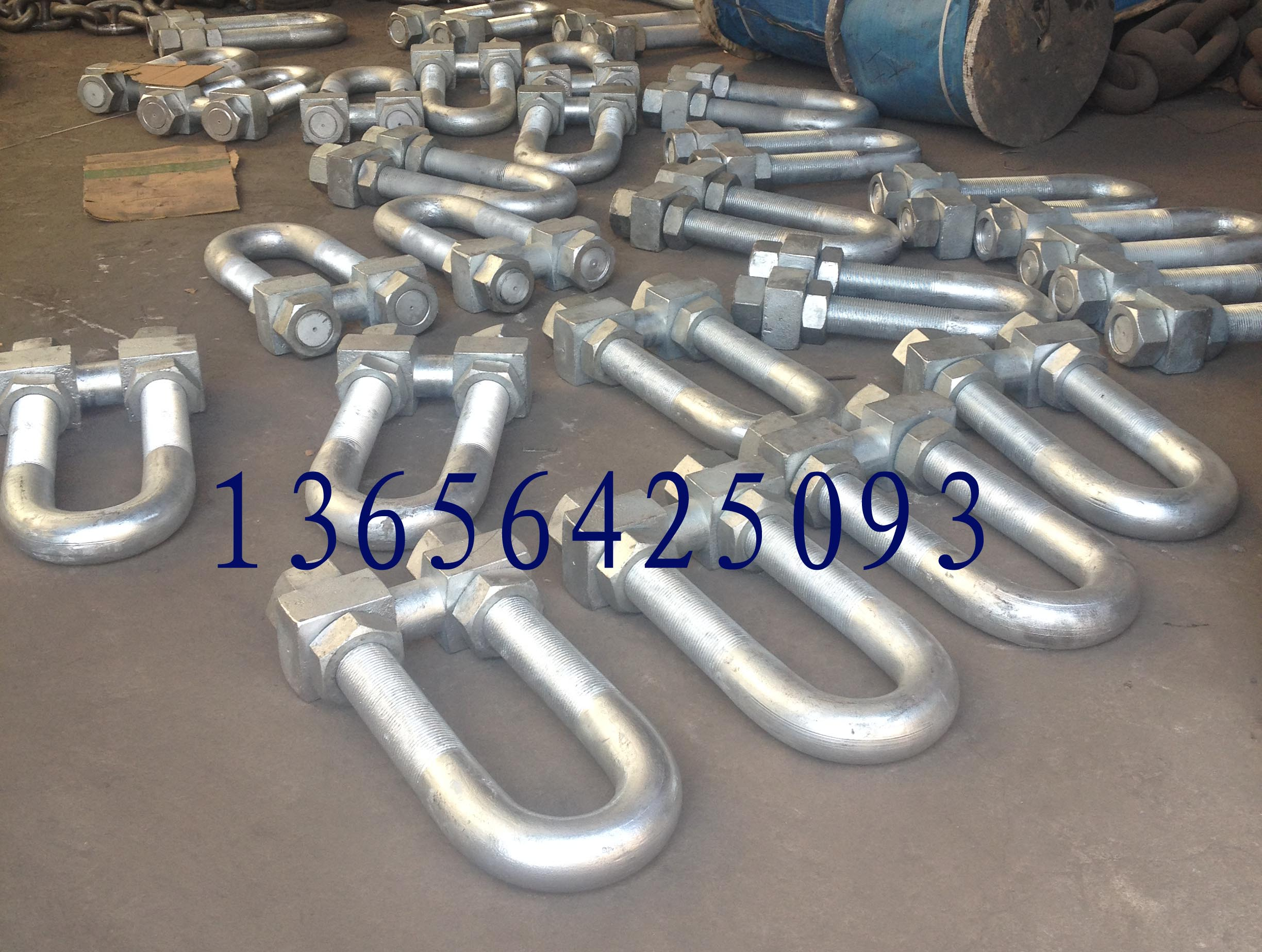 Round pin chain shackle with bolt