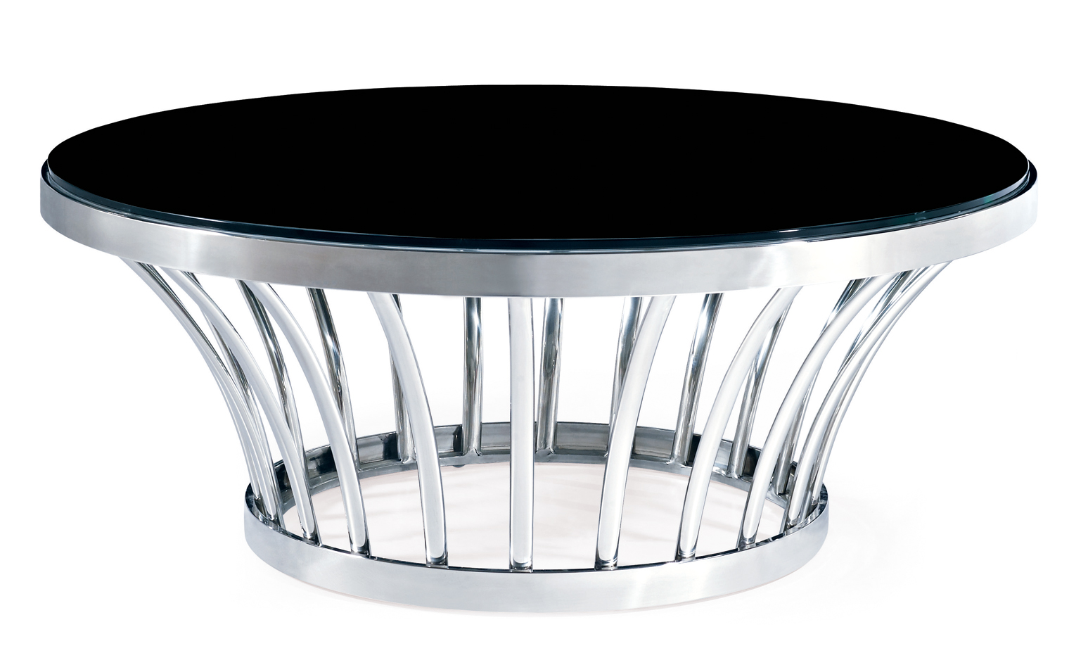 SHIMING FURNITURE MS-3302 Black tempered glass round top coffee table with polish stainles steel foo