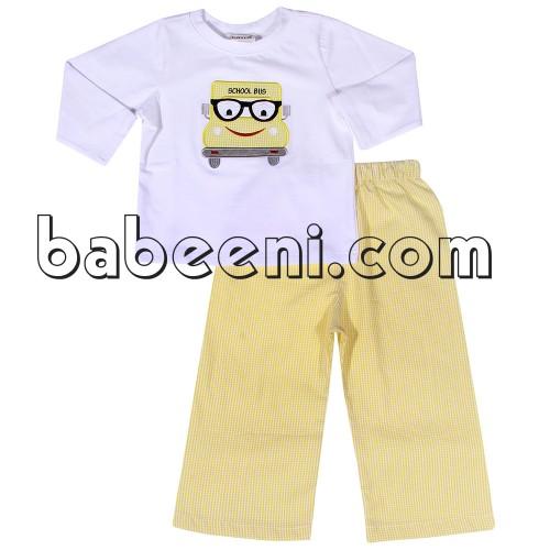 School bus applique boy pants set