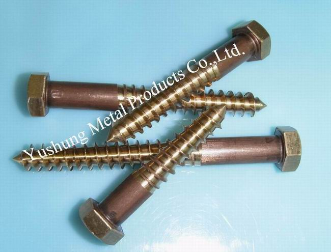 C65500 High Silicon Bronze Lag Bolts Full Body Cutting Threads