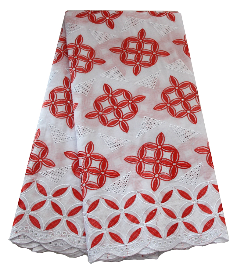 Popular african fabrics dry unique swiss embroidery comfortable polish cotton lace with rhinest