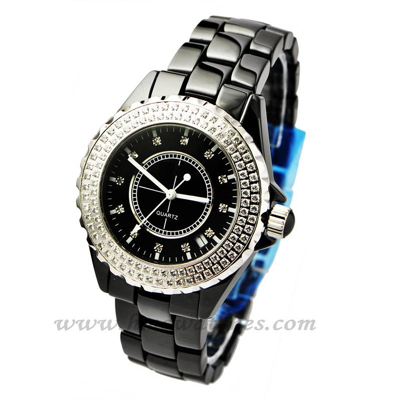 OEM watch, crazy selling 3 atm water resistant black ceramic quartz wrist watch with flashing stones