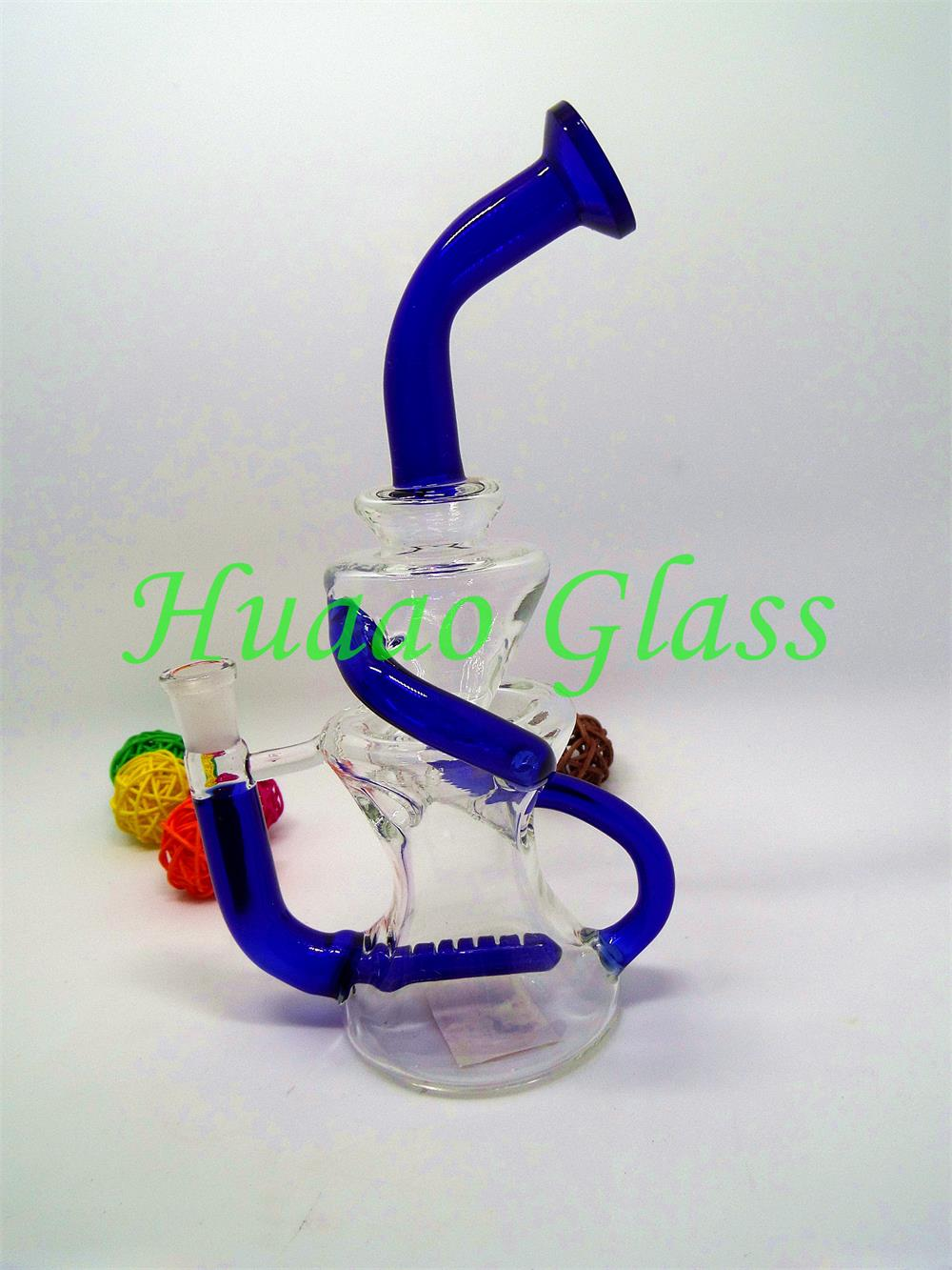 7 inches Hand blown 5mm High quality borosilicate glass External water cycle glass water pipe
