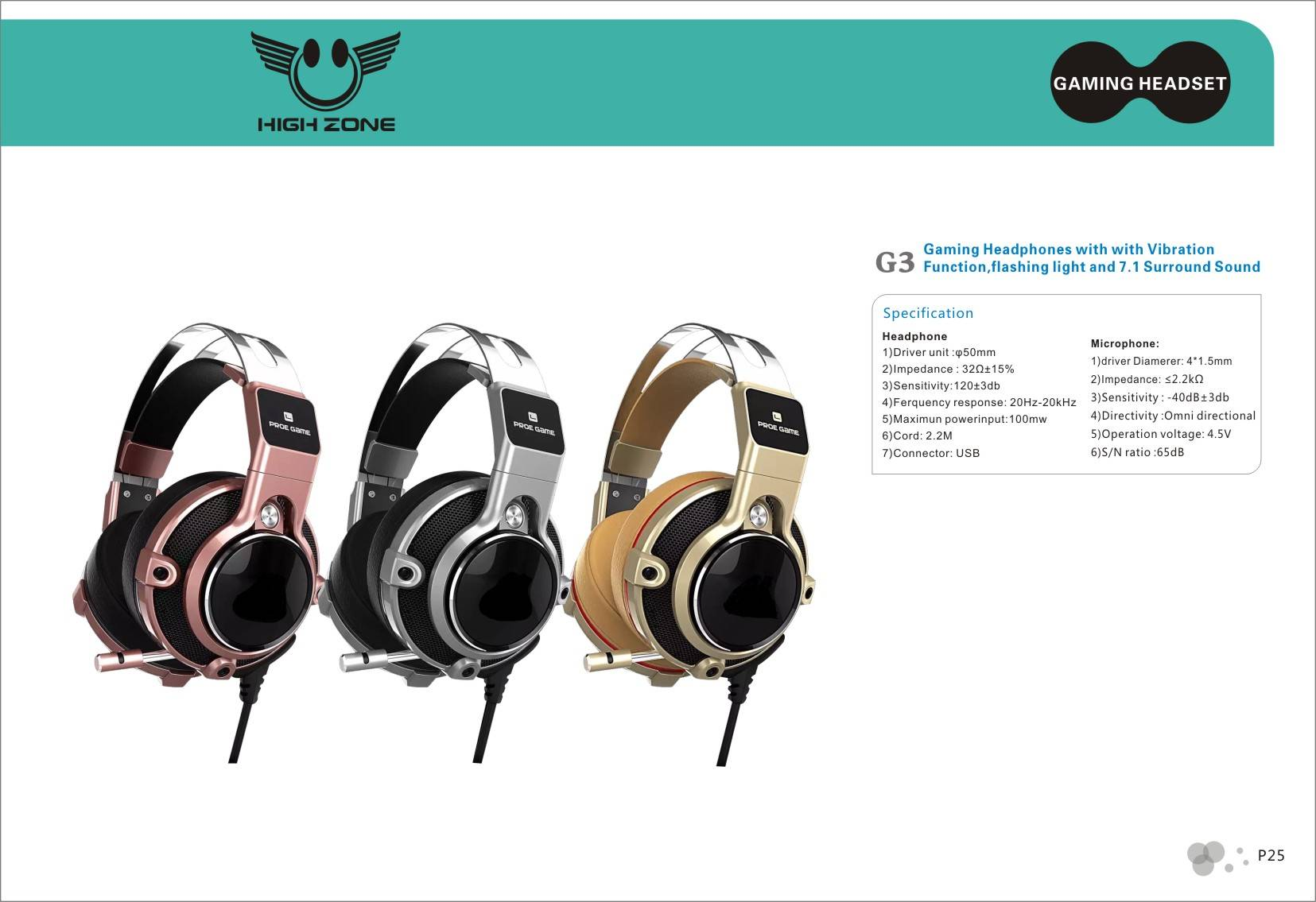 USB 7.1 wired stereo Gaming Headphone G3 for Computer,Gaming Headband Headset with Mic LED for PSP/P