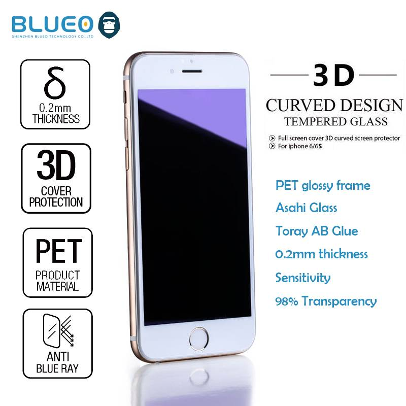 Blueo Nano Glossy PET frame 3D Edge 0.2mm 9H Anti blue for iphone6 s tempered glass screen protector