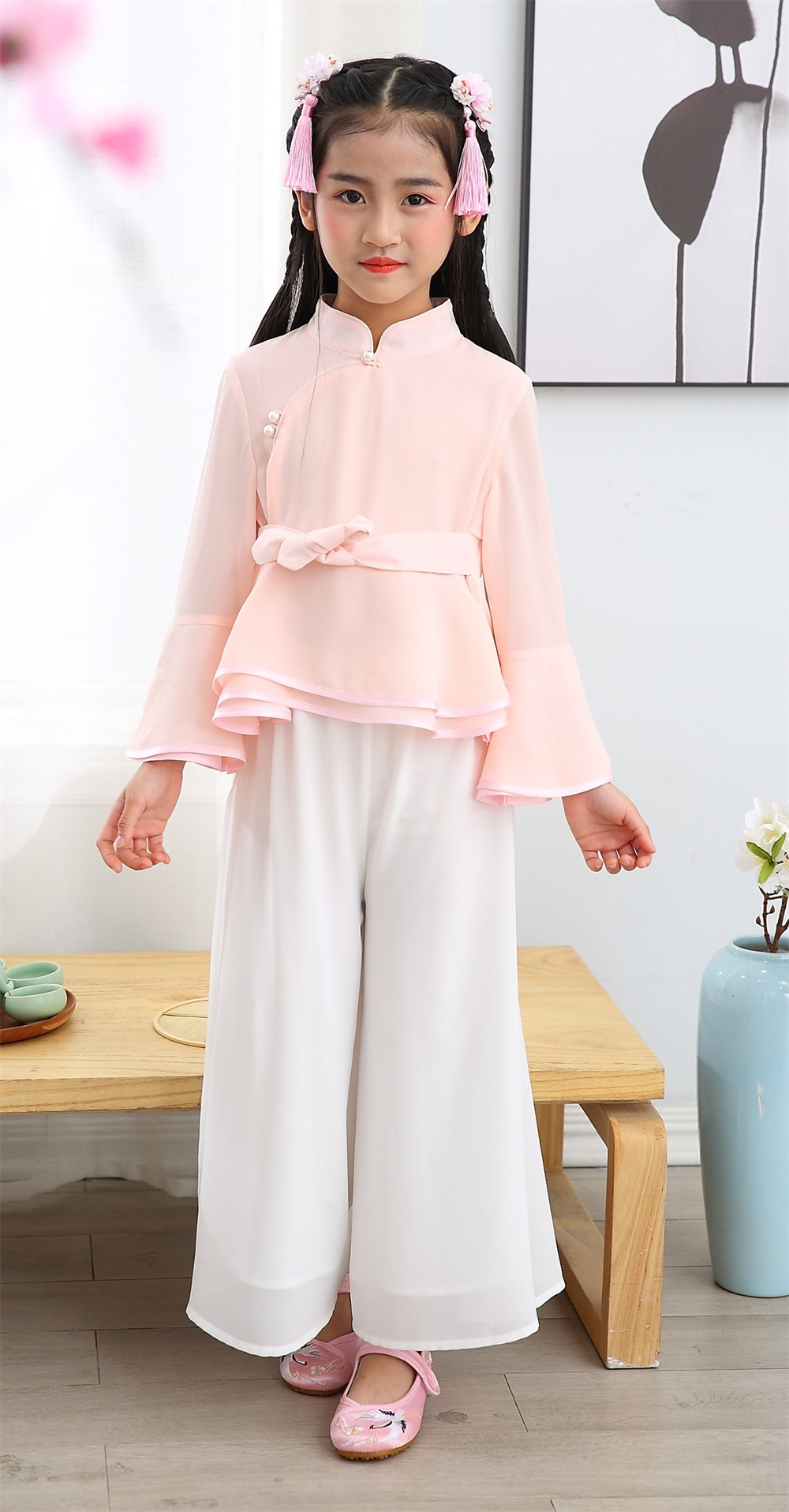 Wholesale girl chiffon summer Tang suits tops and pants long sleeve 2 piece suits manderin colar chi