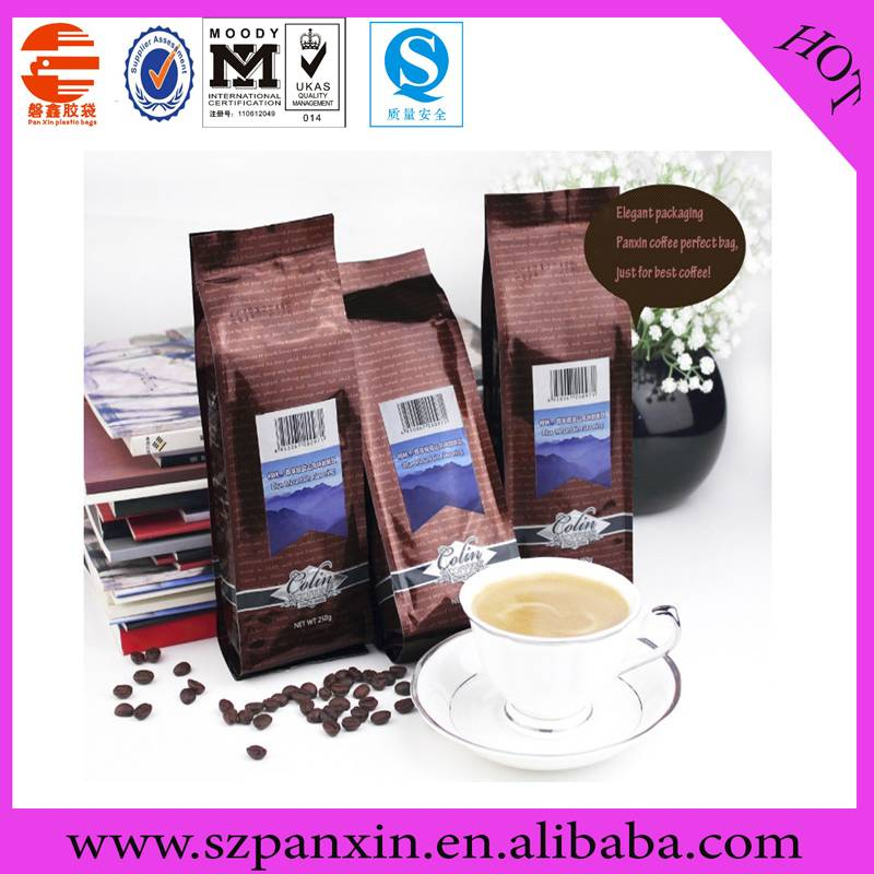 SGS best selling side gueest coffee bag with valve