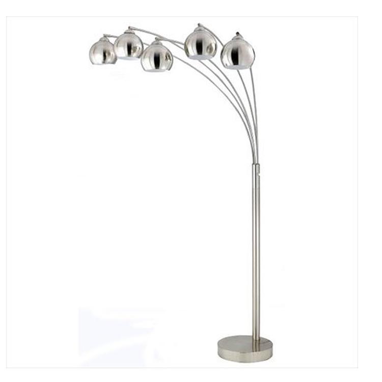 hot sale Modern 5 lights Floor Lamp metal living room bedroom lighting sand nickel