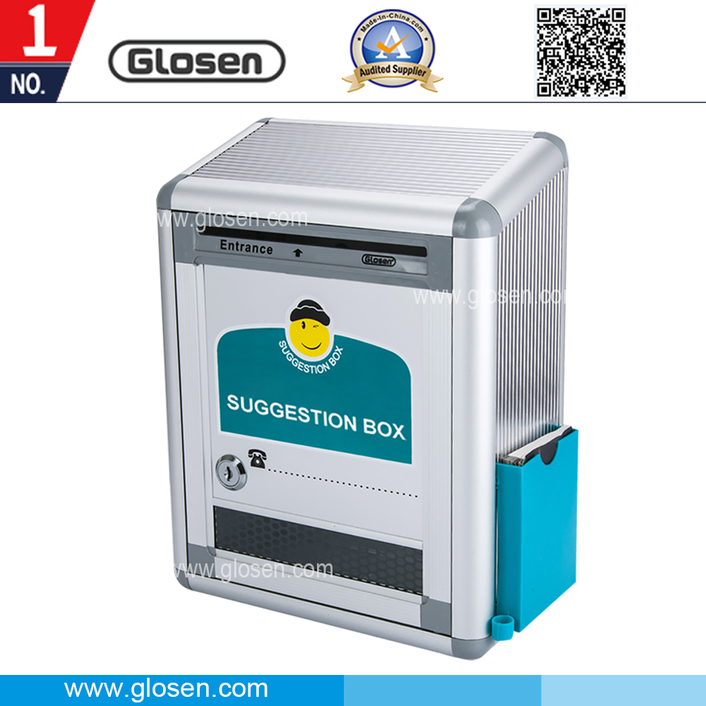 Glosen Small Size Aluminum Suggestion Box with Pen Hole and Memo Note Holder B09