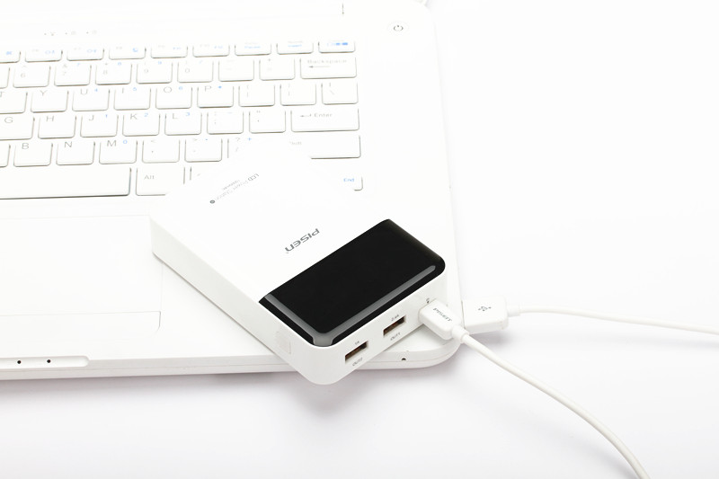 2.4A Portable Charger Pisen Power Bank 10000mAh LCD Screen Display Dual USB Output