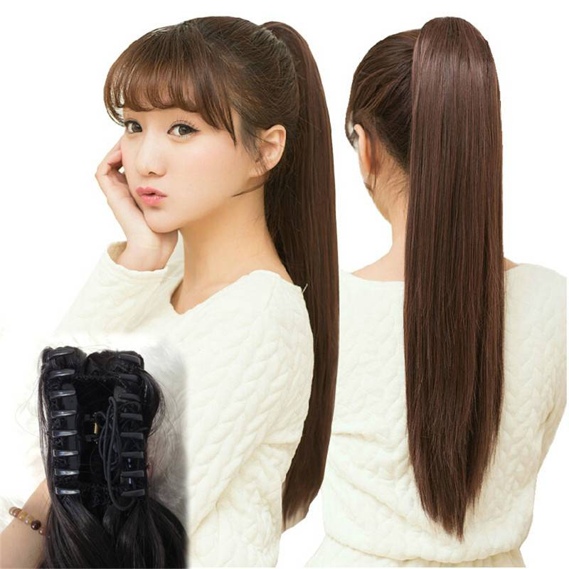 Synthetic jaw claw straight ponytail