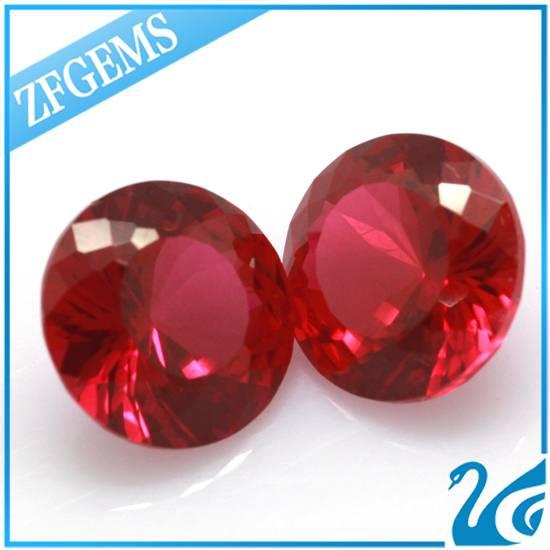 Wuzhou round brilliant cut 5# synthetic ruby/ corundum
