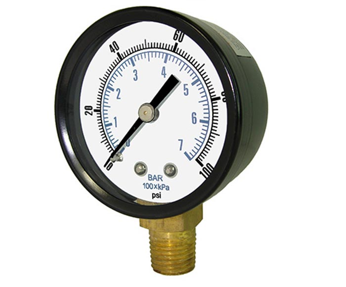common pressure gauge-Black steel case and bezel, bottom connection