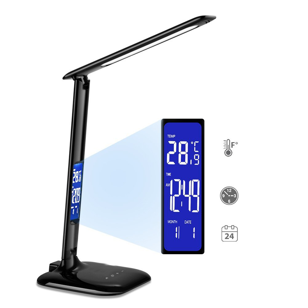 CE Table Lamp Desk Lamp 6W LED with LCD Screen,5V/0.5A USB charging, 5-Level Touch Control Dimmer