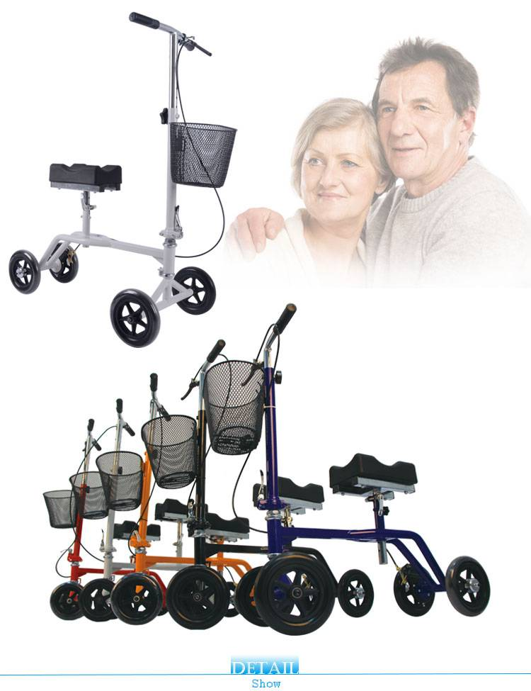 Disabled folding roll about knee walker with basket for disable