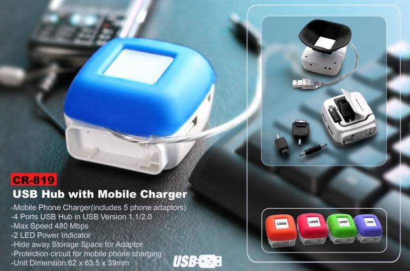 USB hub with mobile charger
