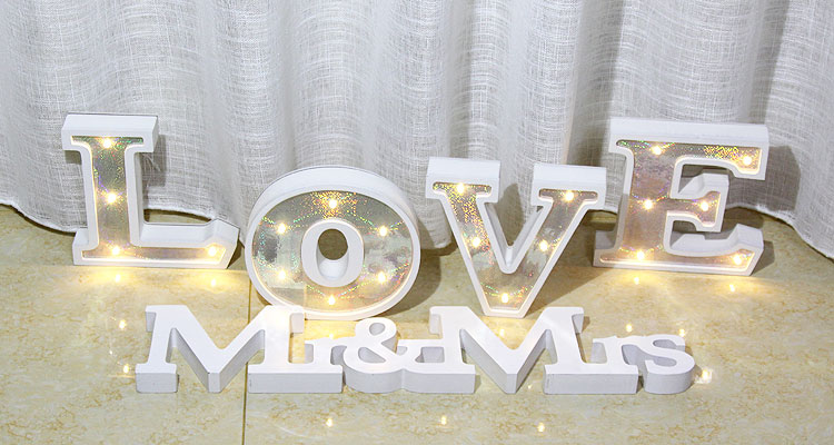 Linhai colorful lighted Led wooden letter lighting party decoration