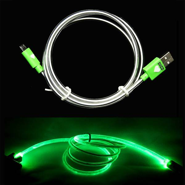 Pzcd LED Cylinder Visible Data Sync and Charge Cable for Micro USB Connector Devices