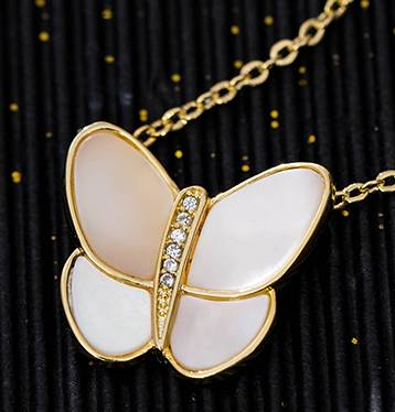 S925 Silver Necklace Female Butterfly with Natural Powder